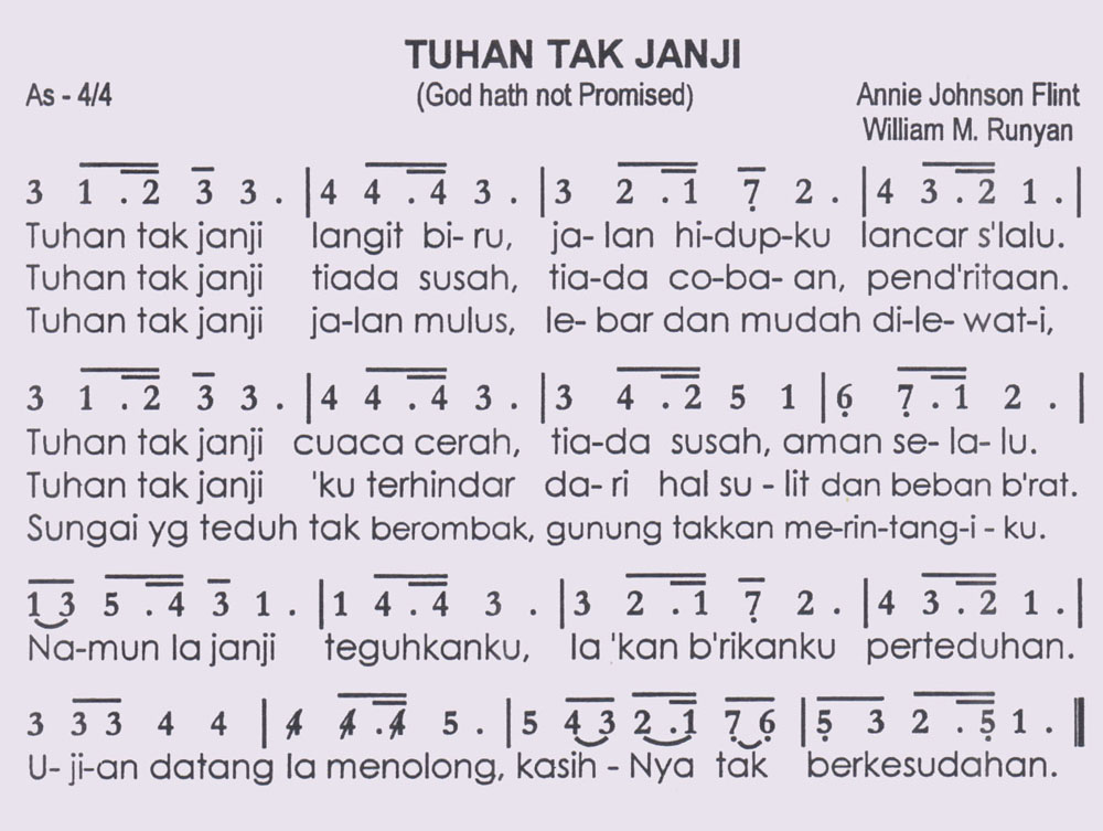 Tuhan Tak Janji God Hath Not Promised Partitur Not Angka