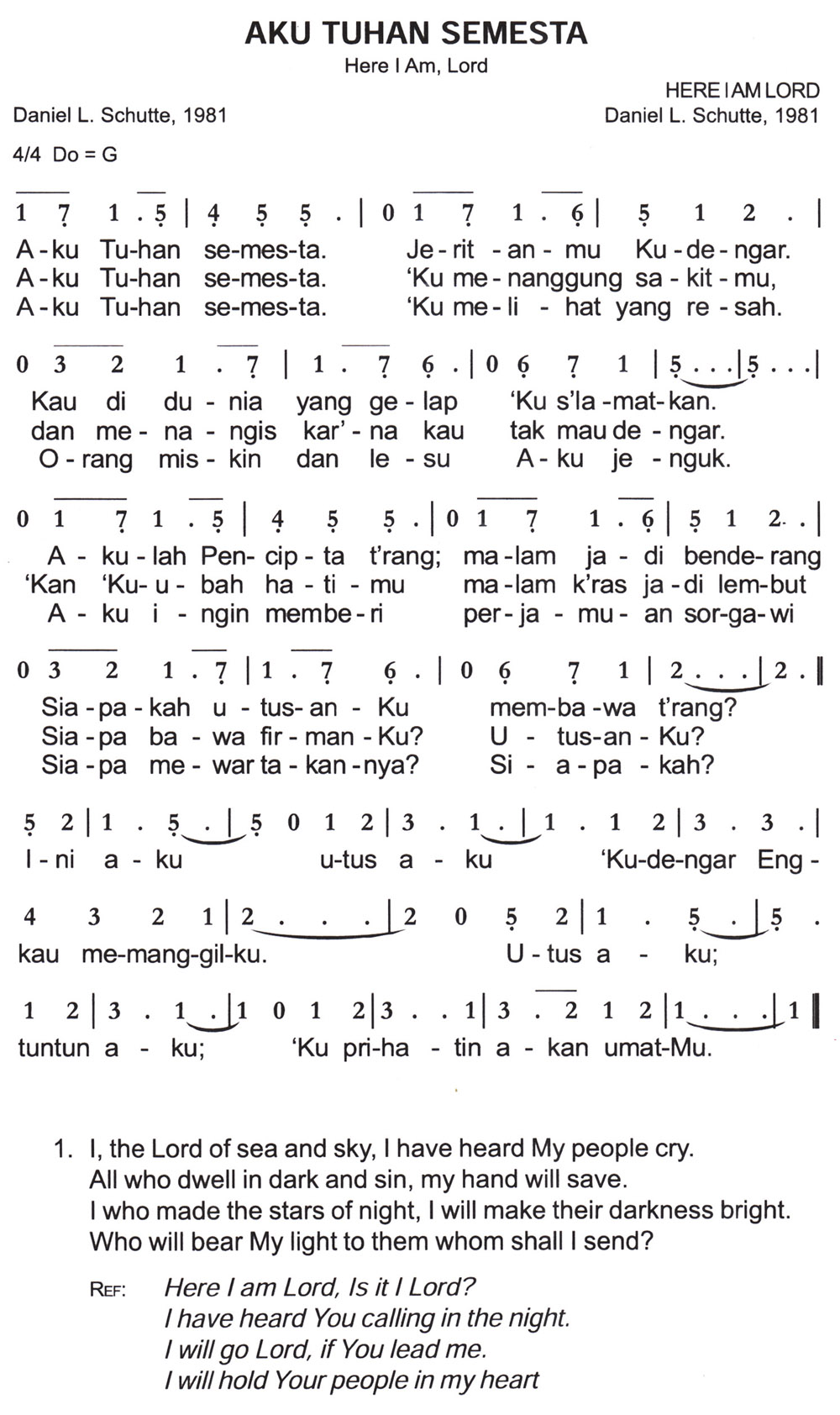Aku Tuhan Semesta – Here I Am Lord | Excellent in the Future